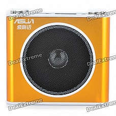 "ASUA 1.0"" LCD Multi-Function MP3 Player Megaphone Voice Amplifier with FM / TF / Mic Jack (Gold)"