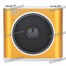"""ASUA 1.0"""" LCD Multi-Function MP3 Player Megaphone Voice Amplifier with FM / TF / Mic Jack (Gold)"""