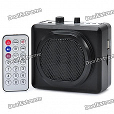 Rechargeable Multi-Function MP3 Player Megaphone Voice Amplifier w/ Mic / TF / USB / FM - Black