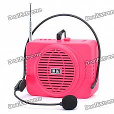 Daile Multi-Function Megaphone Voice Amplifier MP3 Music Speaker w/ FM / SD / Microphone - Deep Pink