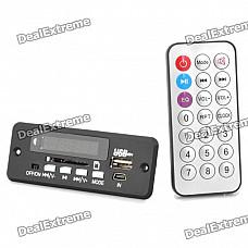 "1.0"" LED Car MP3 Player Module w/ FM/ USB/Mini USB/SD/Remote Controller - Black (12V)"