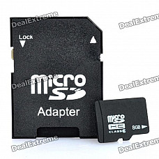 8GB Micro SD/TF Card with SD Card Adapter - Black (Class 6)