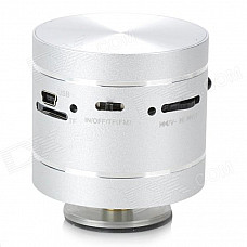 Portable MP3 Player Vibration Resonance Speaker w/ FM / TF / Remote Control - Silver