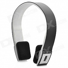 BH-02 Bluetooth Stereo Headset Headphone w/ Microphone - Black + White