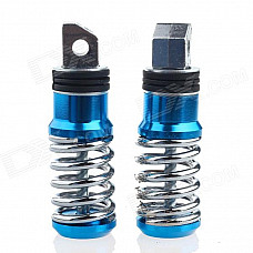 DIY Motorcycle Parts Universal Stainless Steel Spring Back Pedals - Blue (Pair)