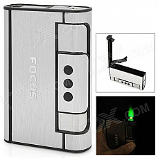 2-in-1 Focus YH007 Aluminum Alloy Automatic Ejection Cigarette Case Lighter - Silver