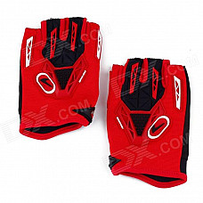 CE-03B Professional Anti-Slip Breathable Half-Finger Riding Gloves - Red + Black (Size M)