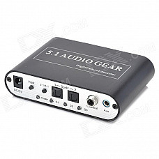 DTS/AC3 to 5.1 Digital Audio Decoder w/ OPT1 / OPT2 / COX Input - Black + Silver