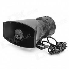 80W Waterproof Motorcycle Car Five Sounds Horn Alarming Loudspeaker - Black (DC 12V)