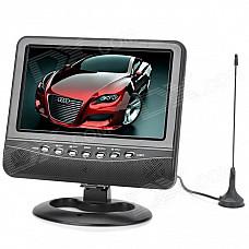 "PTV702 7"" TFT LCD 16:9 Portable TV w/ FM / SD / USB 2.0 / AV-in / AV-out - Black + Silver (EU Plug)"