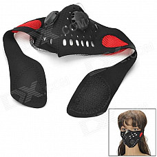 YW026R Outdoor Motorcycle Breathable Warm Half-Face Cover - Black + Red