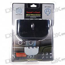 1-to-3 Cigarette Lighter Power Spliter with USB Output (Black)