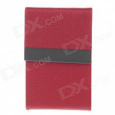 4111 Fashionable Lichee Pattern Portable Magnet Design Cigarette Case / Card Box - Red
