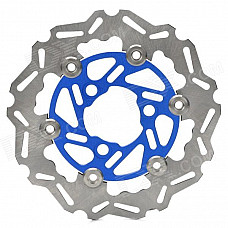 Motorcycle CNC Floating Front Brake Disc Rotors w/ Caliper Adapter - Blue + Silver
