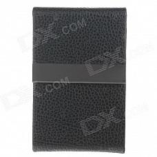 4111 Fashionable Lichee Pattern Portable Magnet Design Cigarette Case / Card Box - Black