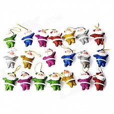 01020 Cute Shiny Little Santa Claus Decorative Doll for Christmas - Multicolored (20 PCS)