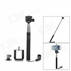 3-in-1 Adjustable Handheld Selfie Monopod for Gopro Hero 4/ Camera / Cellphone - Black (22~105cm)