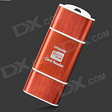 2-in-1 OTG USB Micro SD / TF Card Reader - Red + White