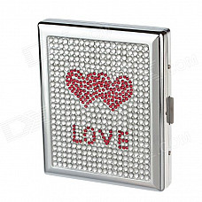 """""""LOVE"""" Style Rhinestone Studded Aluminium Alloy Clamshell Double-Sided Cigarette Case - Sliver + Red"""