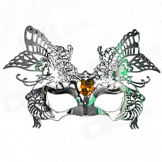 Universal / Halloween Costume Party Ball Men's Hawk Style Rhinestone Studded Plated Mask - Silver
