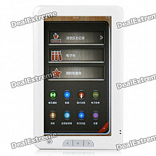 "7.0"" Touch Screen E-Book Reader Music/Video Media Player w/ Microphone/AV-Out/TF - White (4GB)"