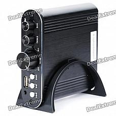 50W Audio Digital Power Amplifier MP3 Player with USB Host/AUX - Black