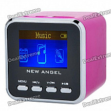 """1.4"""" LCD Mini USB Rechargeable MP3 Player Speaker w/ Alarm Clock/TF/USB/Line In/3.5mm - Deep Pink"""