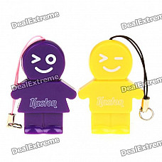 Kaston Cute Boy and Girl Style USB 2.0 TF Card Readers - Yellow + Purple (Pair/Max. 32GB)