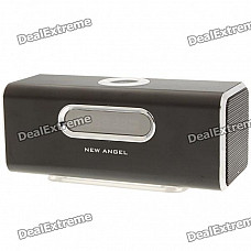 """1.6"""" LCD 2x3W Mini USB Rechargeable MP3 Player Speaker with FM/USB/TF - Black"""
